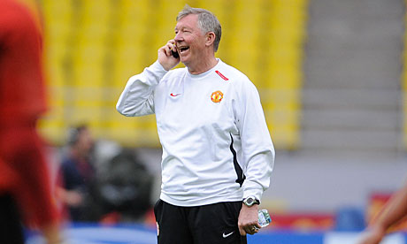 Sir Alex Ferguson on the phone