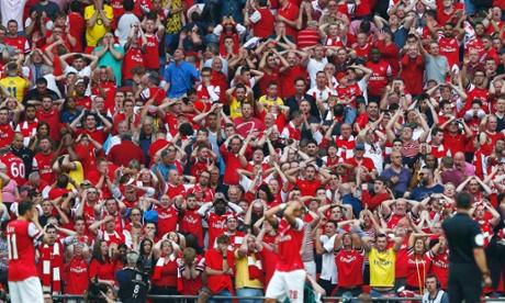 Arsenal fans react after Kieran Gibbs' miss